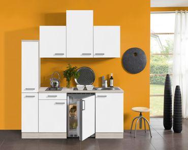 Singleküche BARCELONA - Vario 2 - mit Elektro-Kochfeld - Breite 180 cm - Weiß