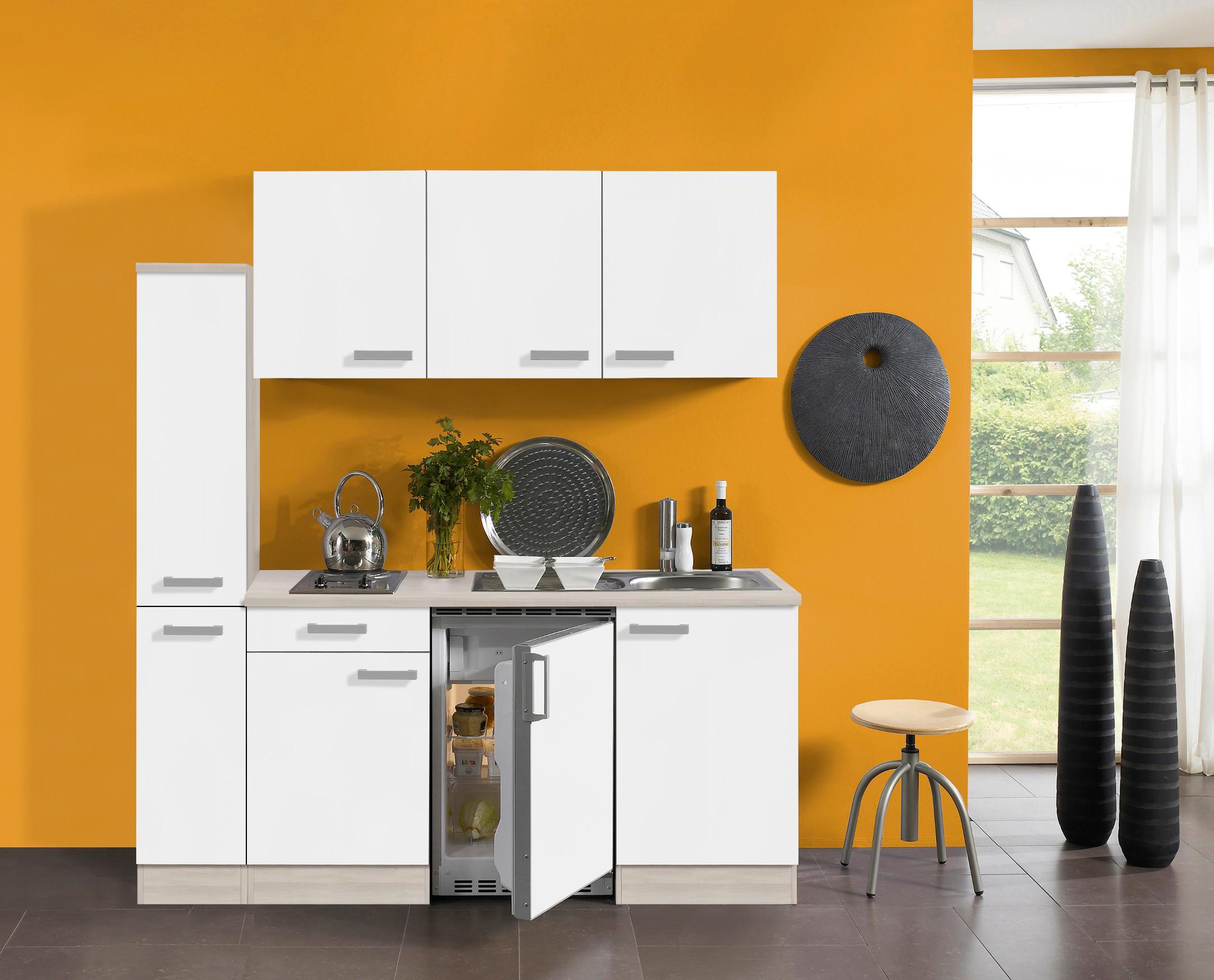 Miniküche Mit Kühlschrank 180 Cm : Singleküche barcelona mit elektro kochfeld teilig breite