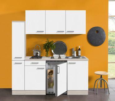 Singleküche BARCELONA - Glaskeramik-Kochfeld - 9-teilig - Breite 180 cm - Weiß