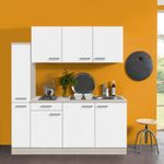 Singleküche BARCELONA - mit Elektro-Kochfeld - 8-teilig - Breite 180 cm - Weiß