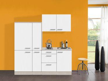 Singleküche BARCELONA - mit Elektro-Kochfeld - Breite 190 cm - Weiß