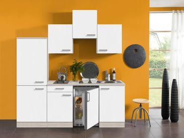 Singleküche BARCELONA - Vario 1 - mit Elektro-Kochfeld - Breite 210 cm - Weiß
