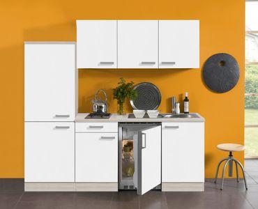 Singleküche BARCELONA - Vario 1 - Glaskeramik - 9-teilig - Breite 210 cm - Weiß