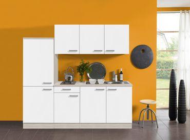 Singleküche BARCELONA - Vario 2 - Elektro - 9-teilig - Breite 210 cm - Weiß