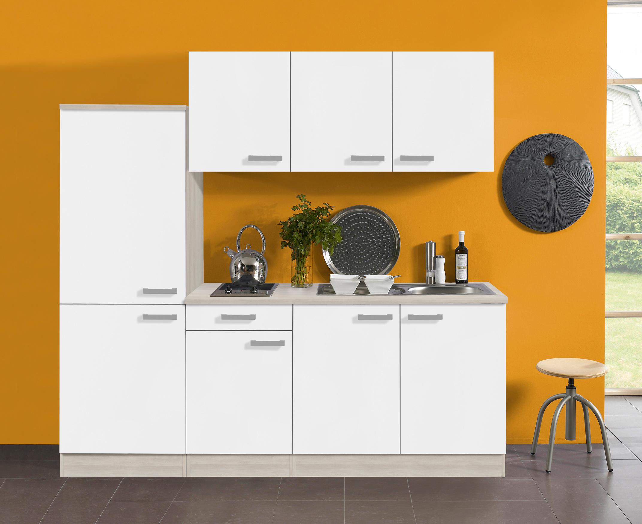 singlek che barcelona vario 2 glaskeramik 9 teilig breite 210 cm wei k che singlek chen. Black Bedroom Furniture Sets. Home Design Ideas