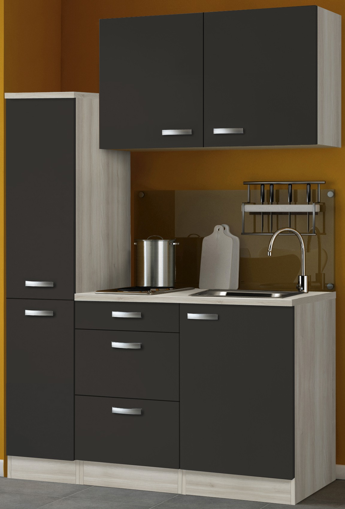 singlek che barcelona mit elektro kochfeld breite 130 cm grau k che singlek chen. Black Bedroom Furniture Sets. Home Design Ideas