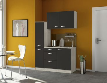 Singleküche BARCELONA - mit Elektro-Kochfeld - Breite 130 cm - Grau