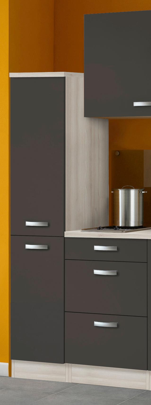 singlek che barcelona mit glaskeramik kochfeld breite 130 cm grau k che singlek chen. Black Bedroom Furniture Sets. Home Design Ideas