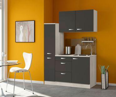 Singleküche BARCELONA - mit Glaskeramik-Kochfeld - Breite 130 cm - Grau