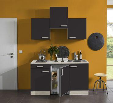 Singleküche BARCELONA - Vario 1 - mit Elektro-Kochfeld - Breite 150 cm - Grau