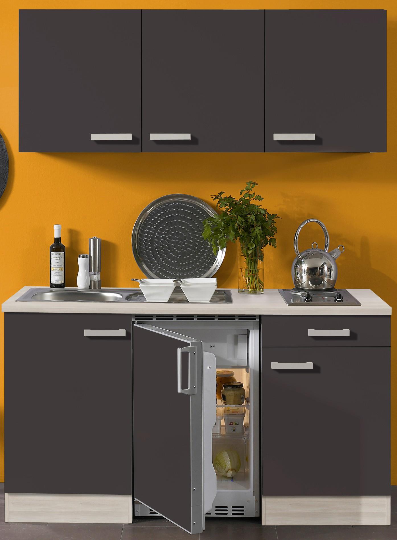 singlek che barcelona mit elektro kochfeld 8 teilig breite 150 cm grau k che singlek chen. Black Bedroom Furniture Sets. Home Design Ideas