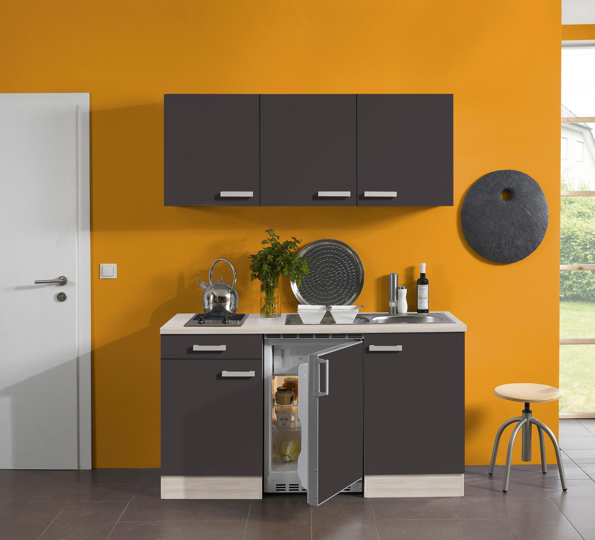 singlek che barcelona glaskeramik kochfeld 8 teilig breite 150 cm grau k che singlek chen. Black Bedroom Furniture Sets. Home Design Ideas