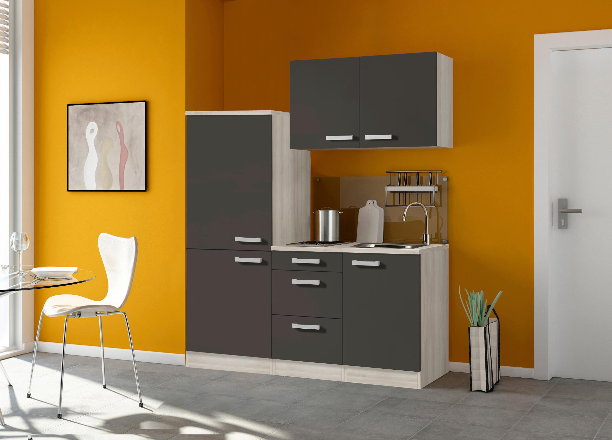 singlek che barcelona mit glaskermik kochfeld breite 160 cm grau k che singlek chen. Black Bedroom Furniture Sets. Home Design Ideas
