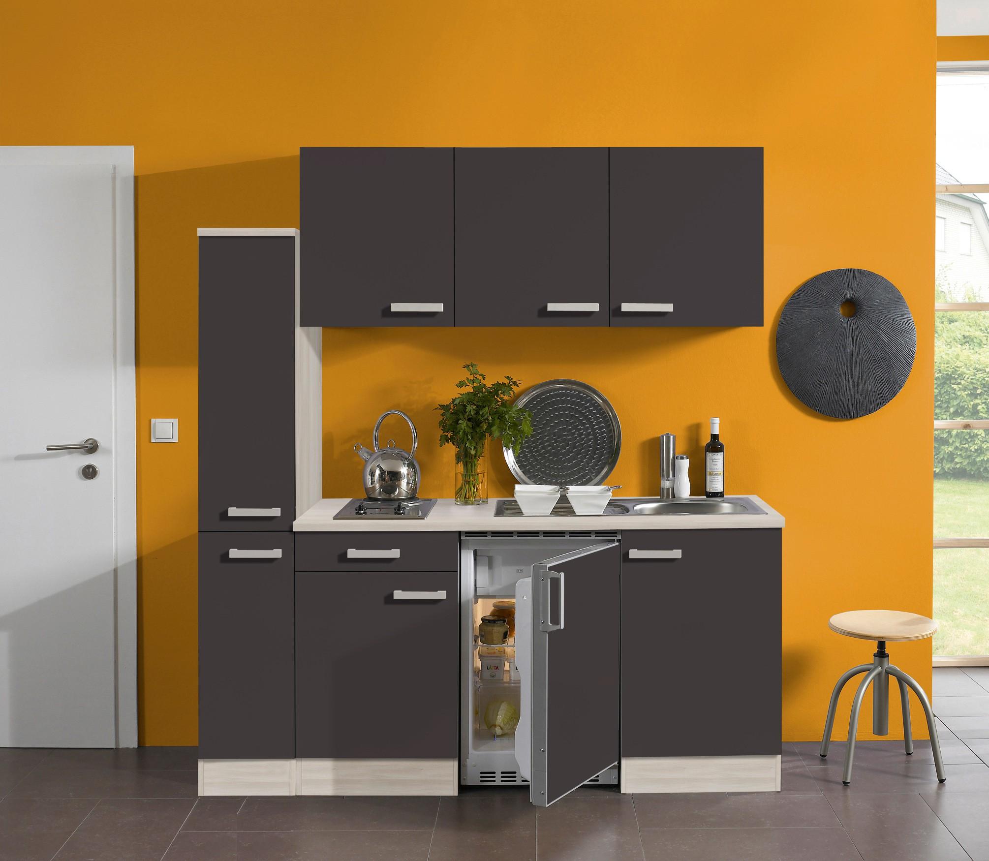 Miniküche Singleküche Mit Kühlschrank Spüle Doppel Kochplatte Küche 180 Cm  Grau
