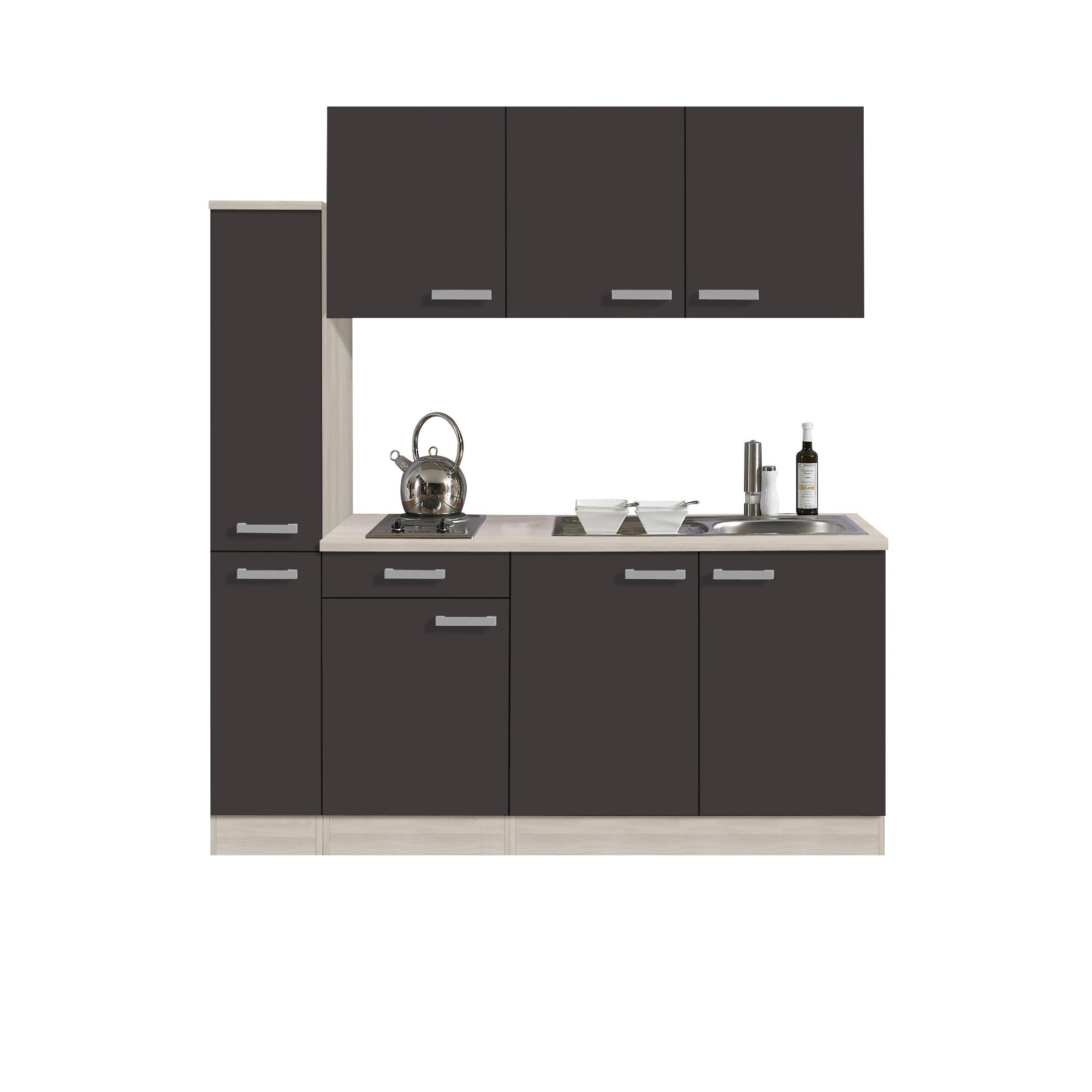 singlek che barcelona mit elektro kochfeld 8 teilig breite 180 cm grau k che singlek chen. Black Bedroom Furniture Sets. Home Design Ideas