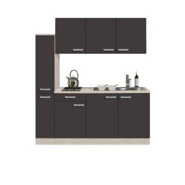 Singleküche BARCELONA - Glaskeramik-Kochfeld - 8-teilig - Breite 180 cm - Grau