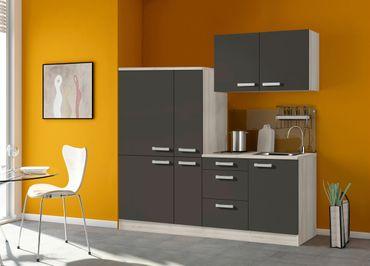 Singleküche BARCELONA - mit Glaskeramik-Kochfeld - Breite 190 cm - Grau