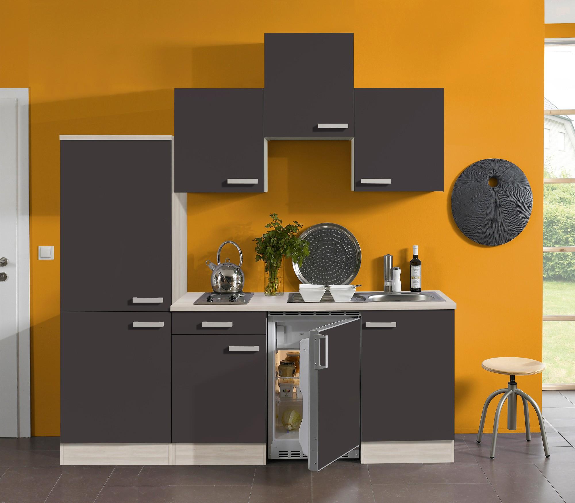 singlek che barcelona vario 1 mit elektro kochfeld breite 210 cm grau k che singlek chen. Black Bedroom Furniture Sets. Home Design Ideas