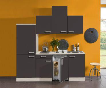 Singleküche BARCELONA - Vario 2 - mit Elektro-Kochfeld - Breite 210 cm - Grau