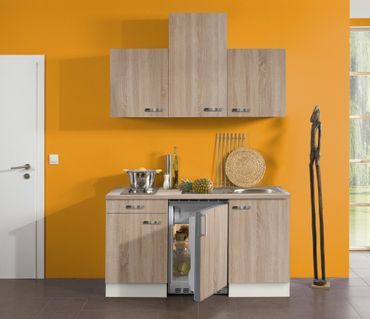 Singleküche TOLEDO - Vario 2 - mit Elektro-Kochfeld - Breite 150 cm - Eiche