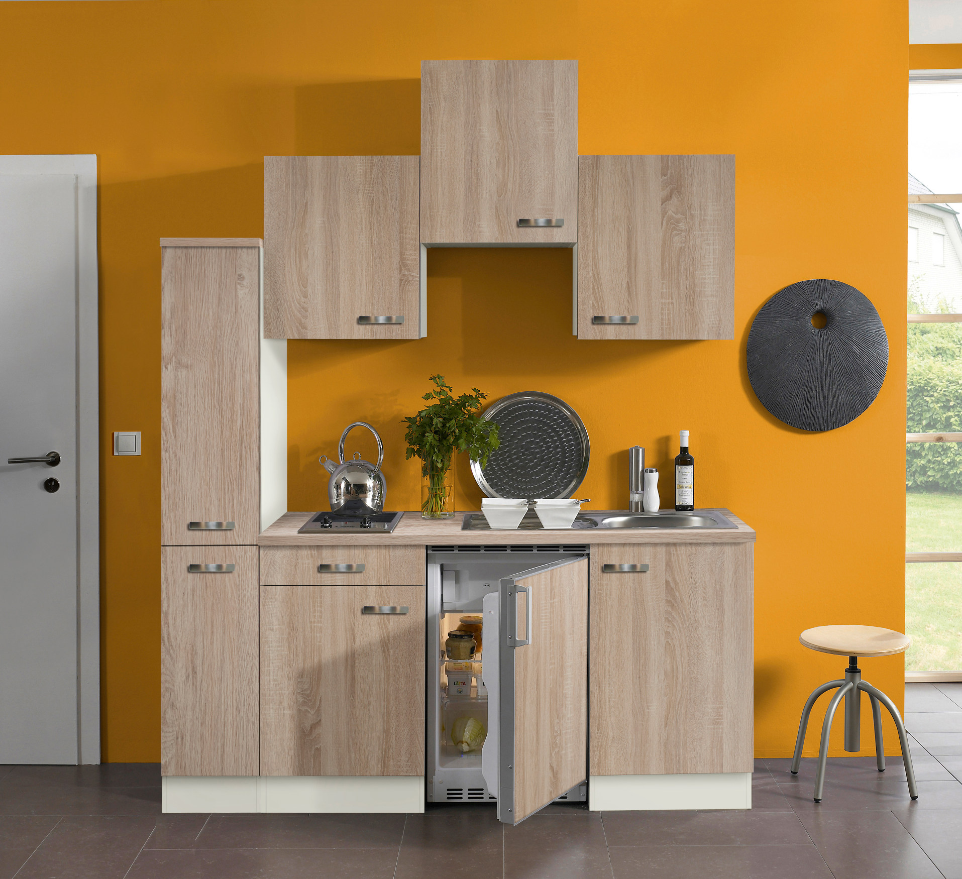 singlek che toledo vario 1 glaskeramik kochfeld breite 180 cm eiche k che singlek chen. Black Bedroom Furniture Sets. Home Design Ideas