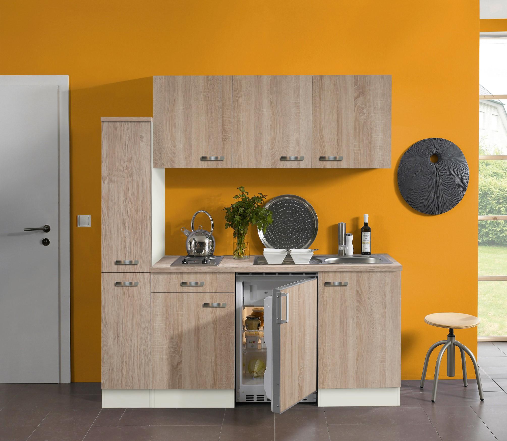 singlek che toledo mit elektro kochfeld 9 teilig breite 180 cm eiche k che singlek chen. Black Bedroom Furniture Sets. Home Design Ideas