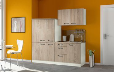 Singleküche TOLEDO - mit Elektro-Kochfeld - Breite 190 cm - Eiche Sägerau