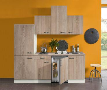Singleküche TOLEDO - Vario 2 - mit Elektro-Kochfeld - Breite 210 cm - Eiche
