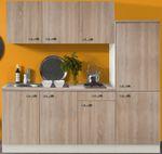 Singleküche TOLEDO - Vario 2 - Glaskeramik - 9-teilig - Breite 210 cm - Eiche