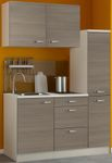 Singleküche TOLEDO - mit Glaskeramik-Kochfeld - Breite 130 cm - Pinie Nougat