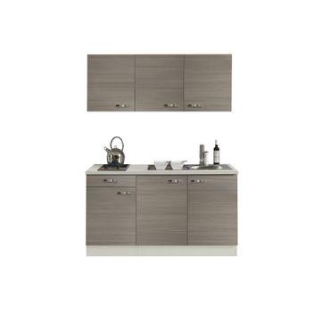 Singleküche TOLEDO - Glaskeramik-Kochfeld - 7-teilig - Breite 150 cm - Pinie