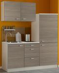 Singleküche TOLEDO - mit Glaskermik-Kochfeld - Breite 160 cm - Pinie Nougat