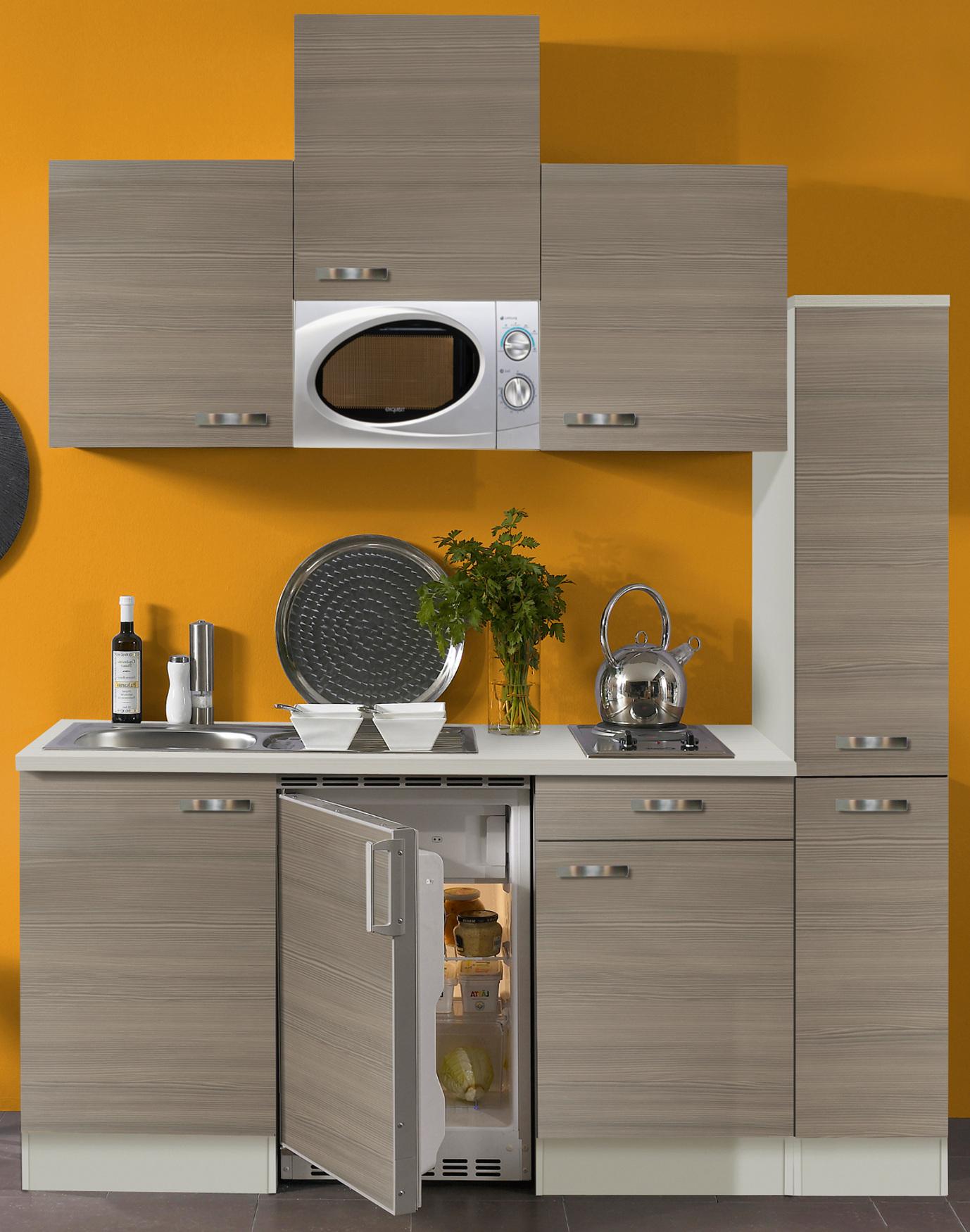 singlek che toledo vario 1 mit mikrowelle breite 180 cm pinie nougat k che singlek chen. Black Bedroom Furniture Sets. Home Design Ideas