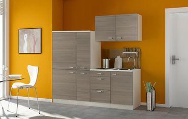 Singleküche TOLEDO - mit Elektro-Kochfeld - Breite 190 cm - Pinie Nougat