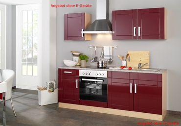 Küchenzeile VAREL - Küchen-Leerblock - Breite 210 cm - Hochglanz Bordeaux Rot