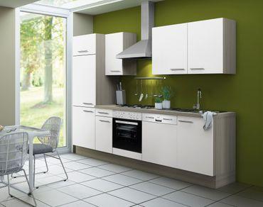 Küchenzeile CADIZ - Vario 1 - Küche mit E-Geräten - Breite 270 cm - Weiß