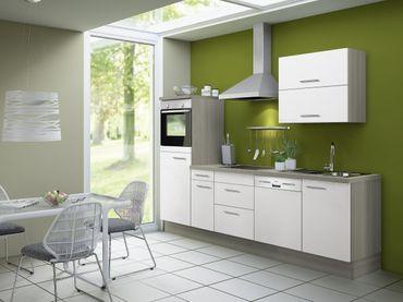 Küchenzeile CADIZ - Vario 4 - Küche mit E-Geräten - Breite 270 cm - Weiß