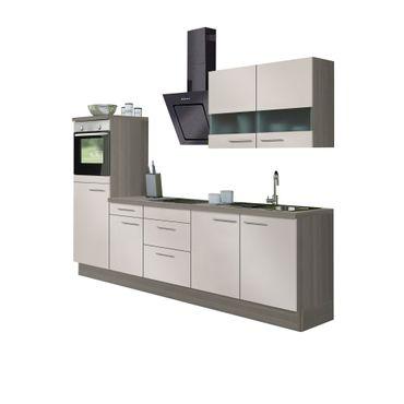 Küchenzeile CADIZ - Vario 8.1 - Küche mit E-Geräten - Breite 270 cm - Beige