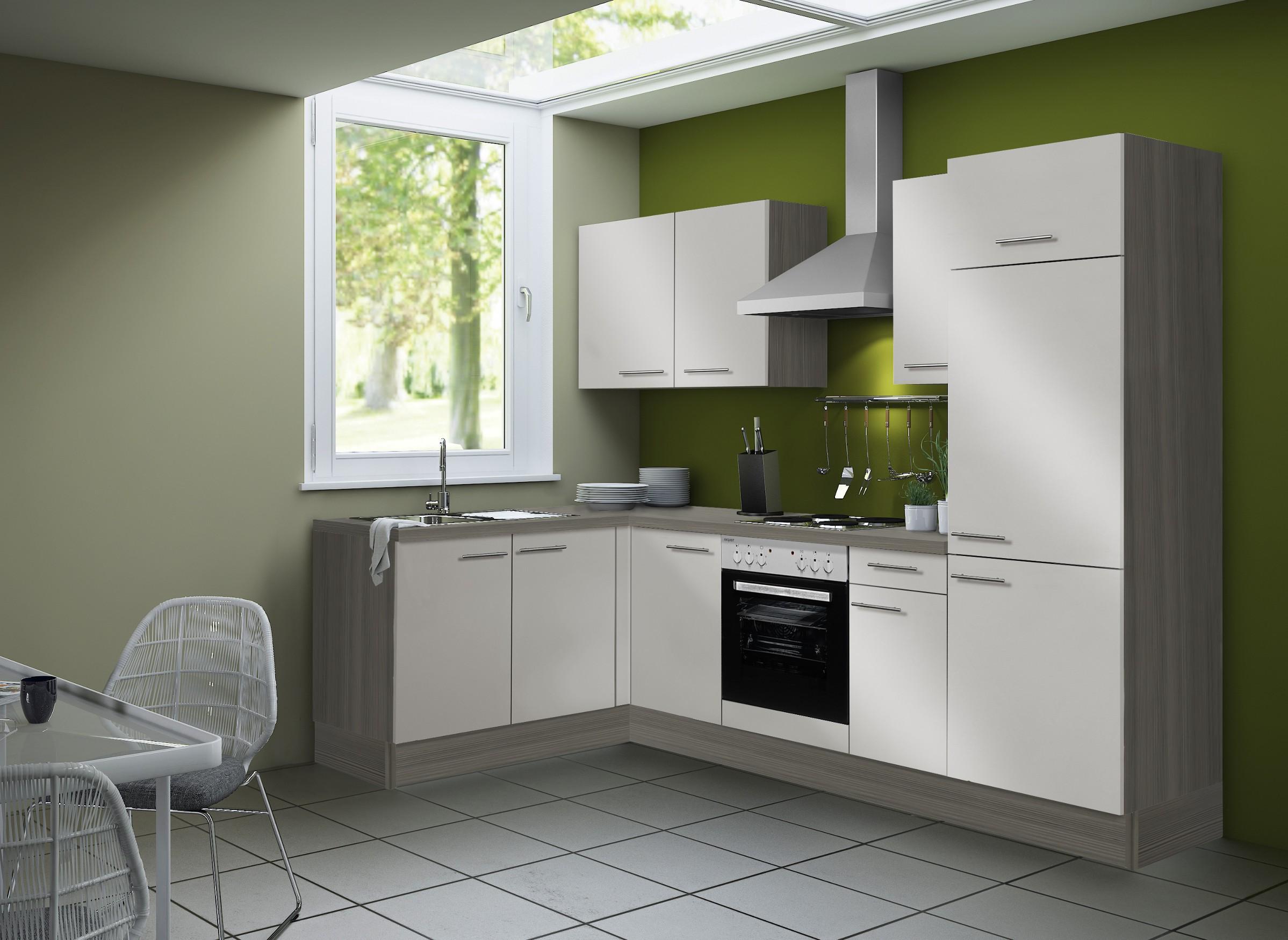 Winkelküche Mit Geräten Küchenzeile L Form Eck Küche Einbauküche 270x165cm  Beige