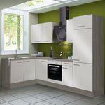 Eckküche CADIZ - Vario 1.2 - Küche mit E-Geräten - Breite 270 x 165 cm - Beige