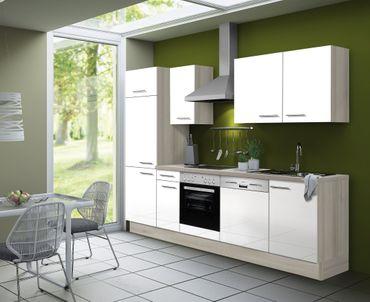 Küchenzeile LEON - Vario 1.1 - Küche mit E-Geräten - Breite 270 cm - Weiß