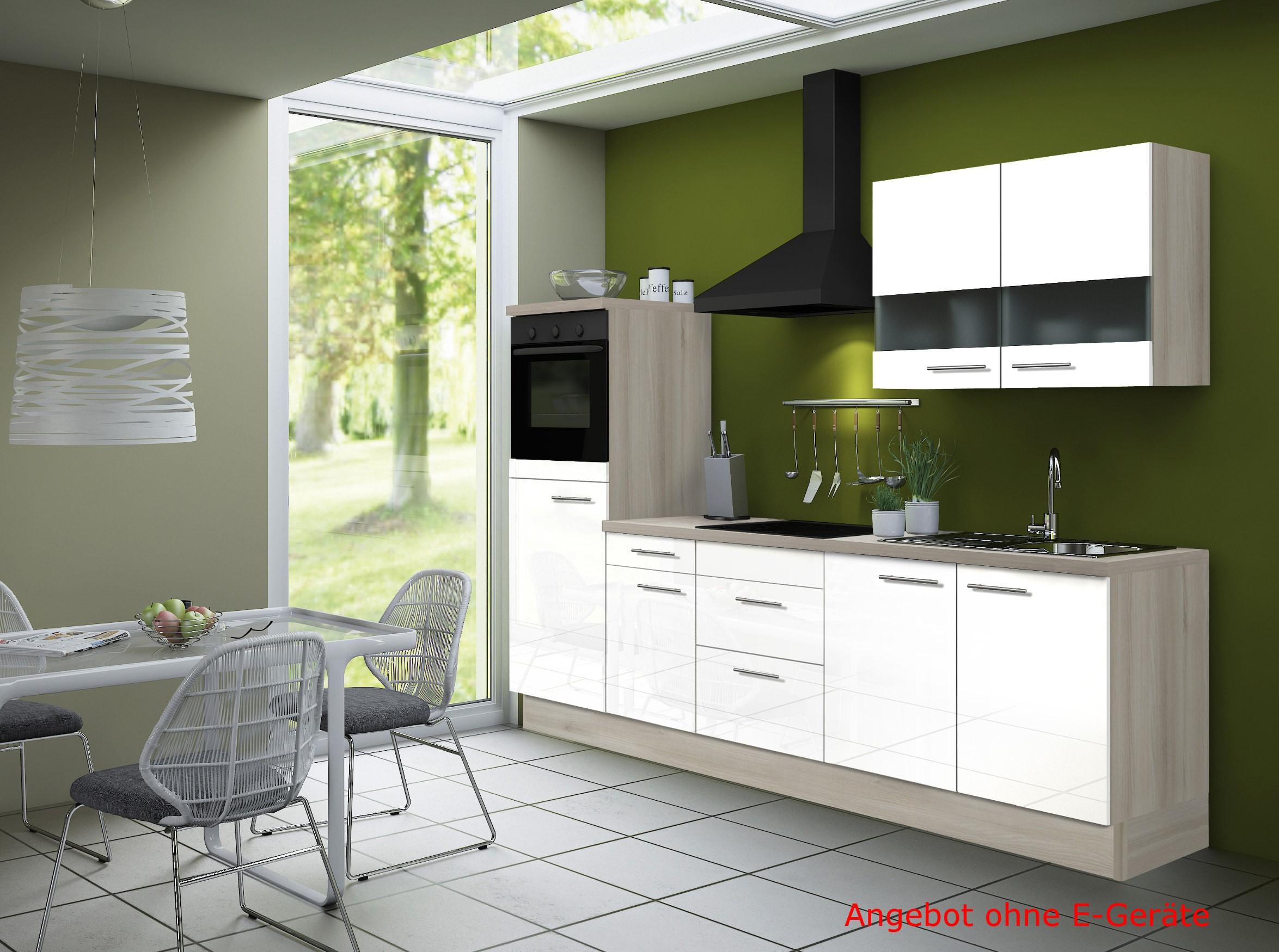 k chenblock leon k chenzeile k che ohne elektro ger te leerzeile 270 cm weiss ebay. Black Bedroom Furniture Sets. Home Design Ideas