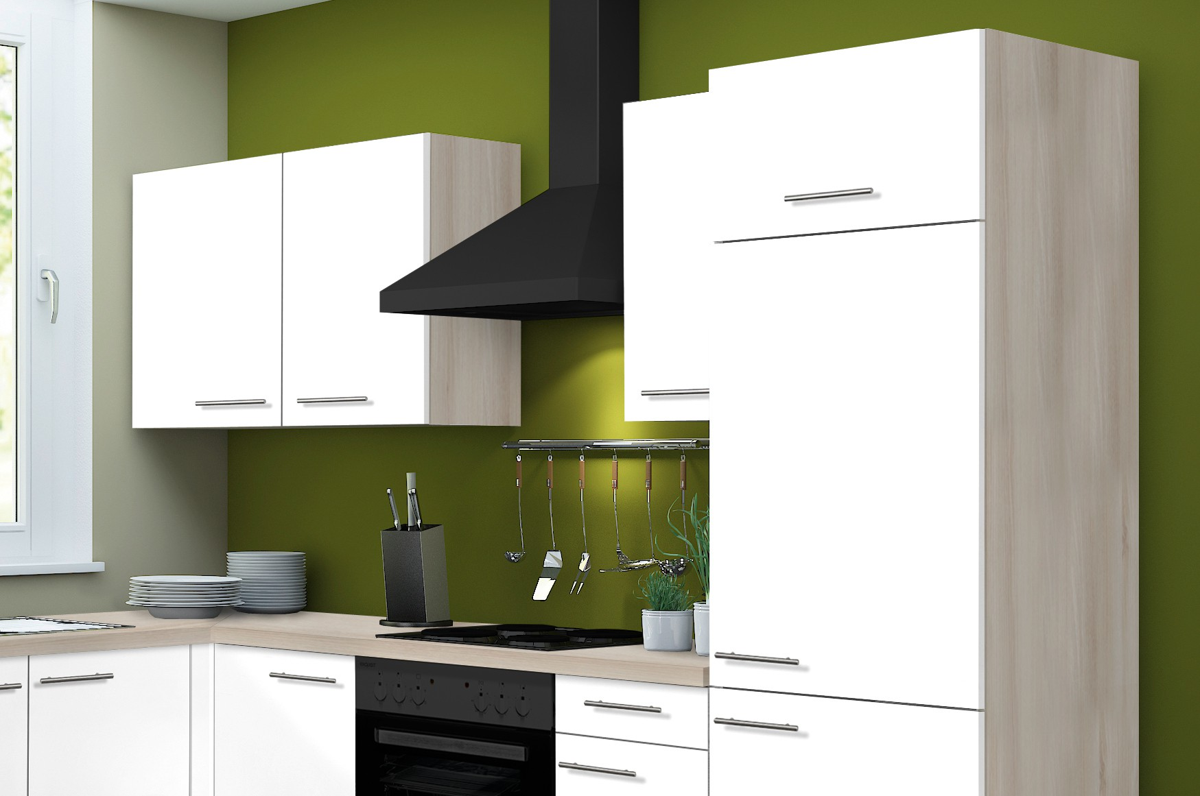 eckk che leon vario 1 l k che ohne e ger te breite 270 x 165 cm wei k che k chenzeilen. Black Bedroom Furniture Sets. Home Design Ideas