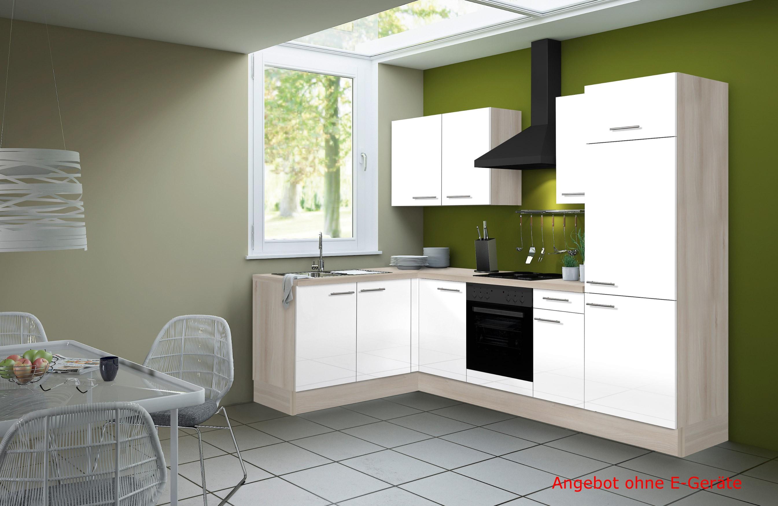 Eckküche LEON - Vario 1 - L-Küche ohne E-Geräte - Breite 270 x 165 cm - Weiß