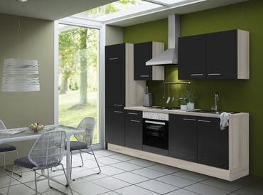 Küchenzeile LEON - Vario 2 - Küche mit E-Geräten - Breite 270 cm - Braun