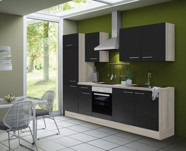 Küchenzeile LEON - Vario 2.1 - Küche mit E-Geräten - Breite 270 cm - Braun