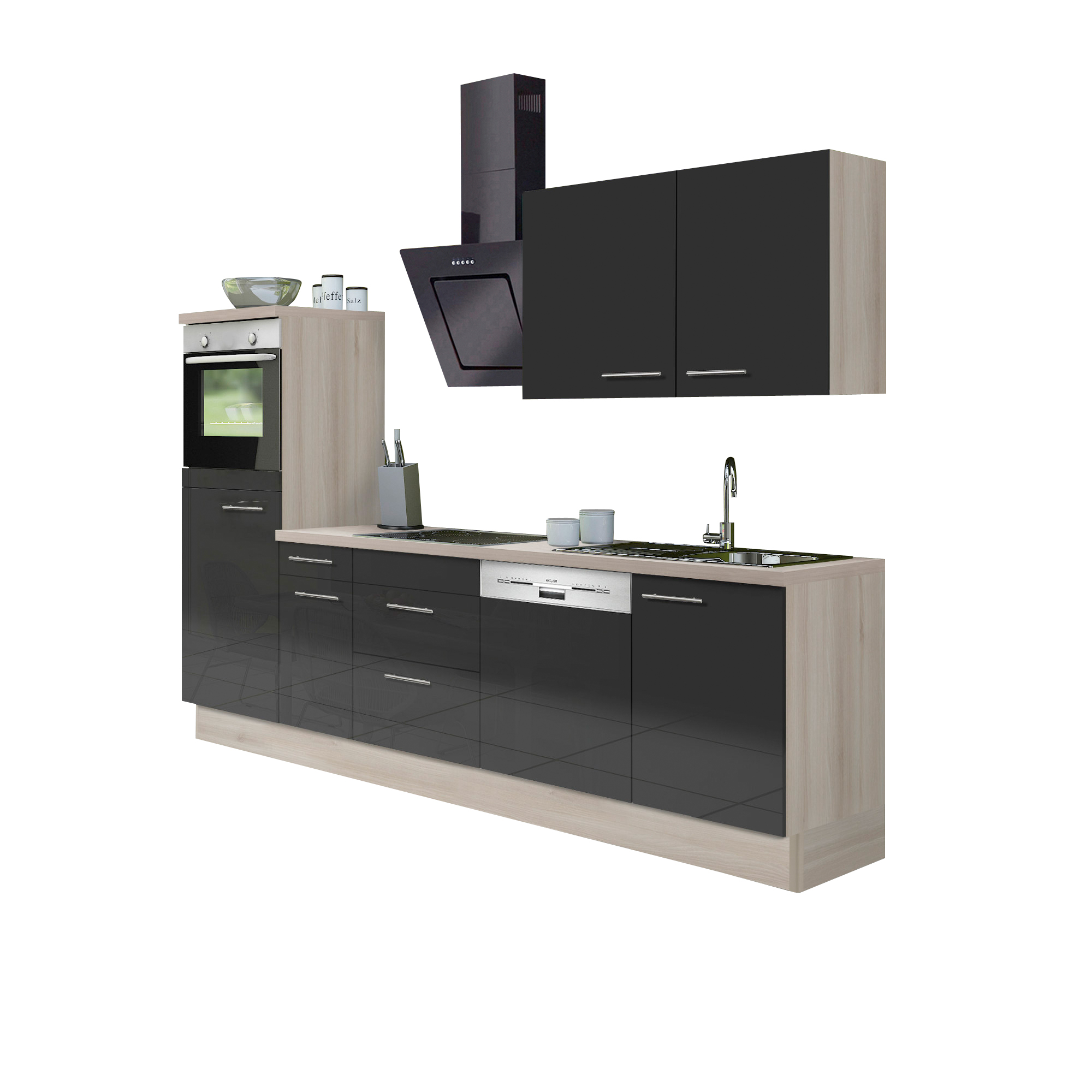 k chenzeile leon vario 3 1 k che mit e ger ten breite 270 cm braun k che k chenzeilen. Black Bedroom Furniture Sets. Home Design Ideas