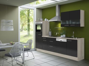 Küchenzeile LEON - Vario 5 - Küche mit E-Geräten - Breite 270 cm - Braun