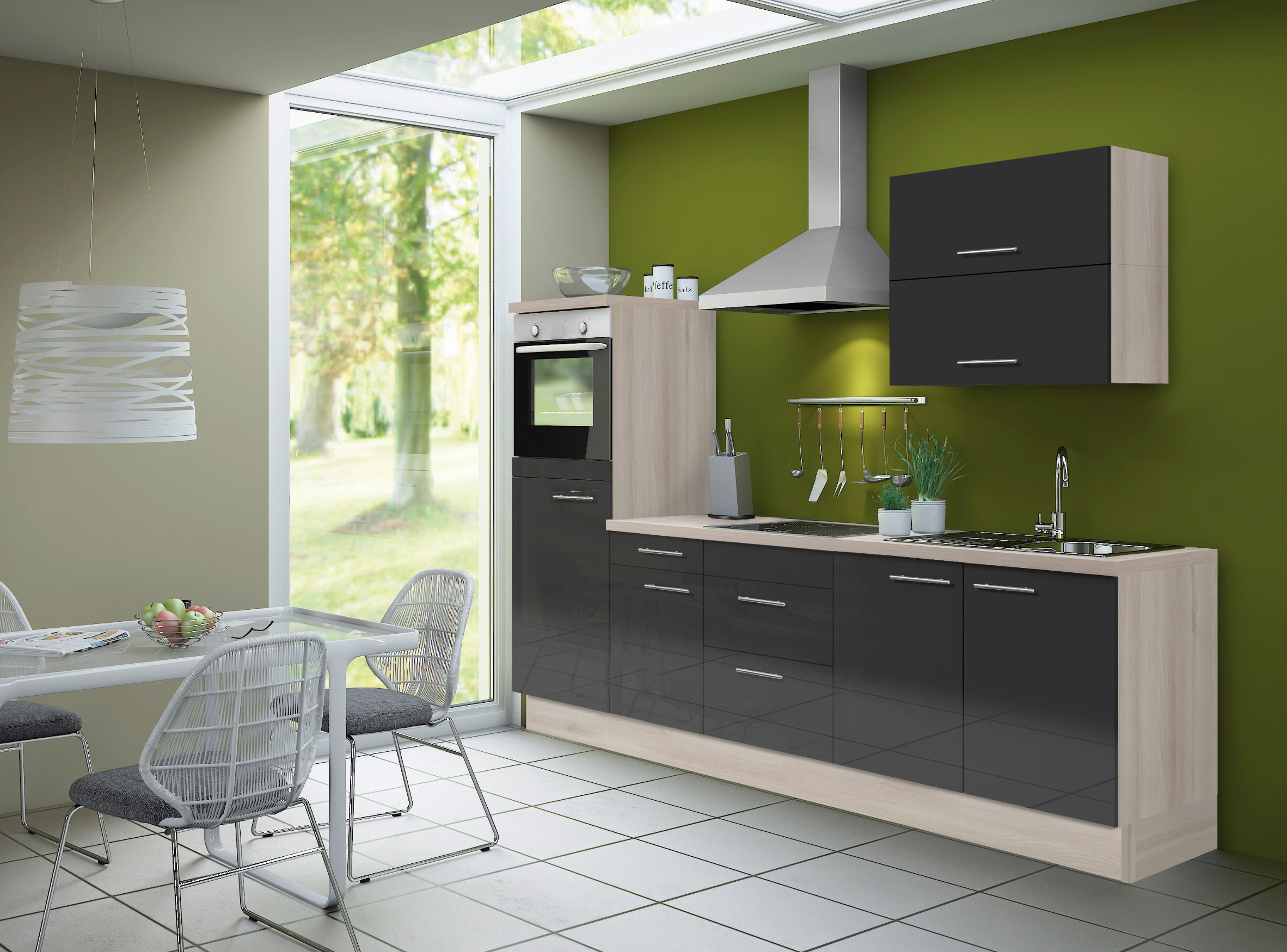 k chenzeile leon vario 7 k che mit e ger ten breite. Black Bedroom Furniture Sets. Home Design Ideas