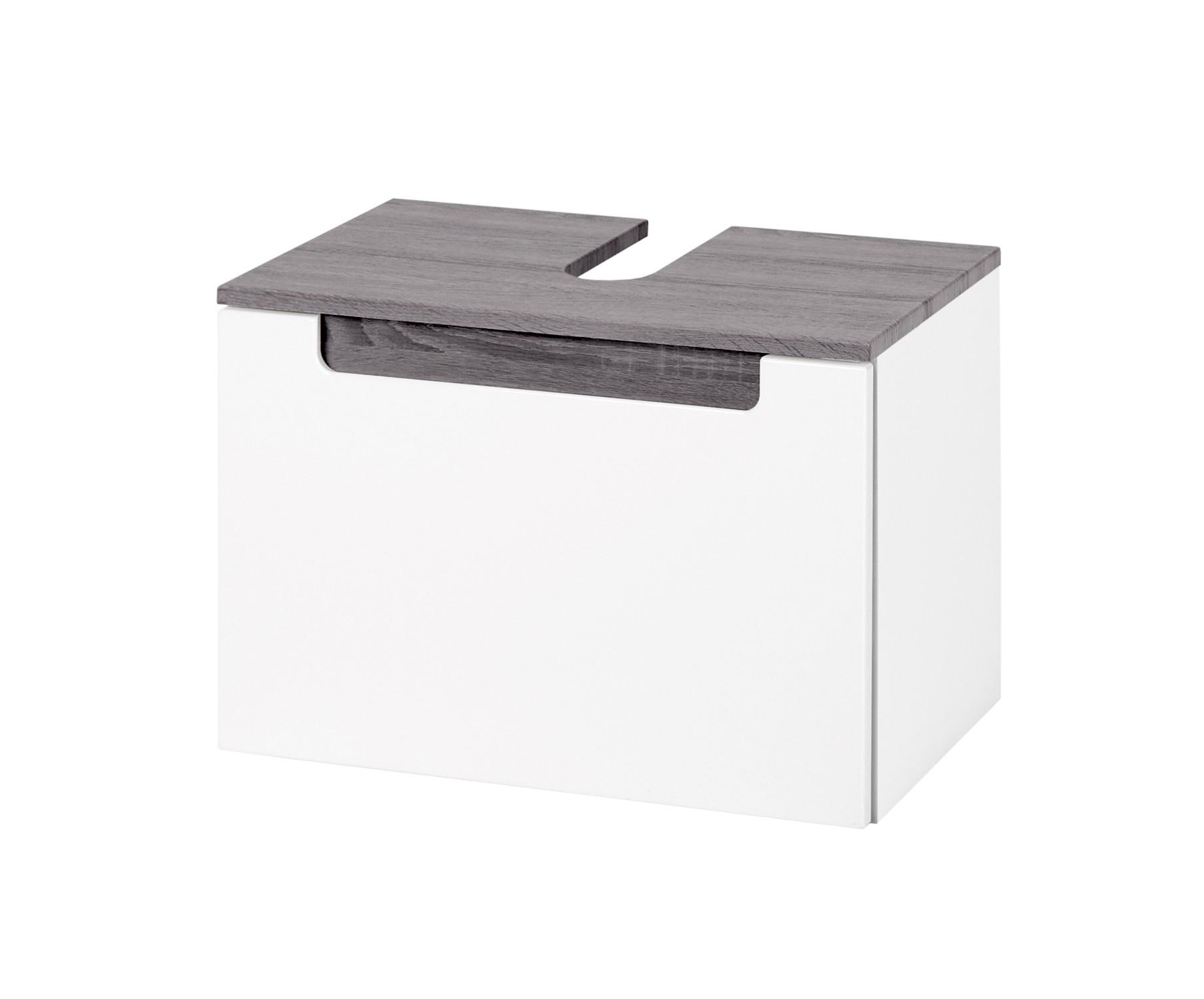Bad Waschbeckenunterschrank SIENA   1 Auszug   60 Cm Breit   Hochglanz Weiß  / Rauchsilber